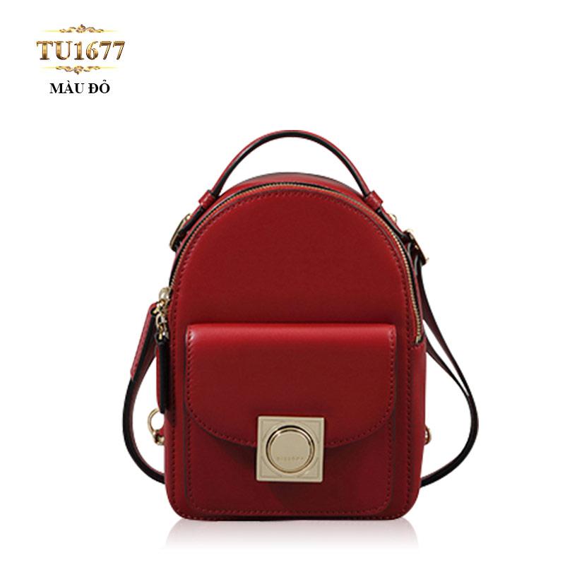 Balo mini Dissona khóa kim loại vuông cao cấp TU1677 (Màu đỏ)