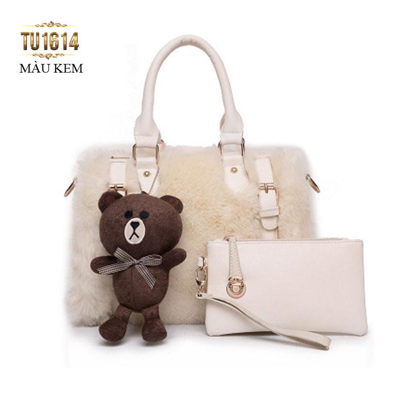 Bộ túi lông con gấu thời trang TU1614 (Màu kem)