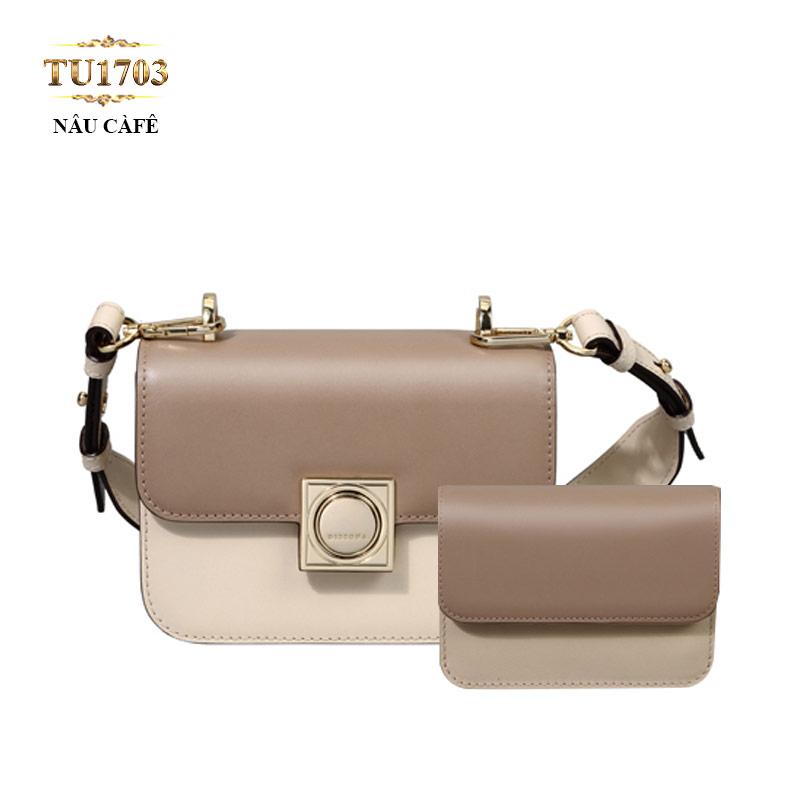 Set 2 túi xách+ví tiền Dissona phối màu thời trang TU1703 (Nâu cafe)
