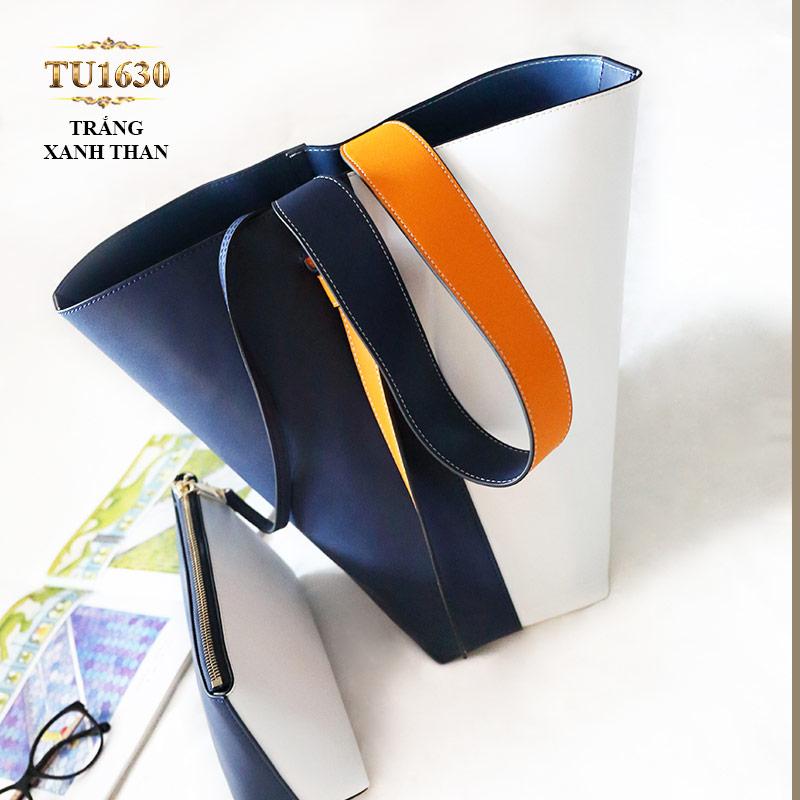 Túi bucket cao cấp quai xách bản to thời trang TU1630 (Trắng xanh than)