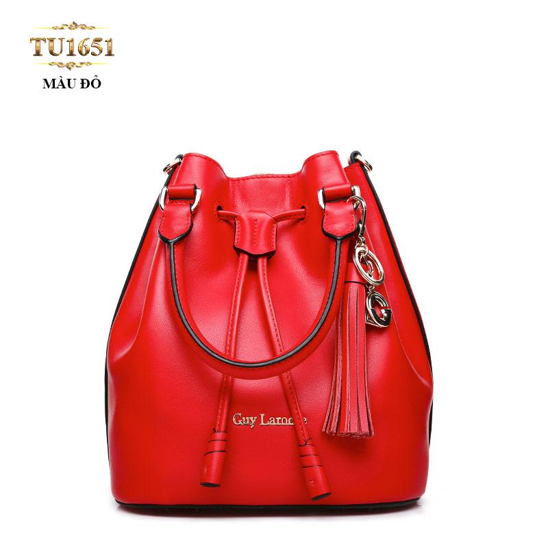 Túi bucket GUY LAROCHE móc kim loại cao cấp TU1651 (Màu đỏ)