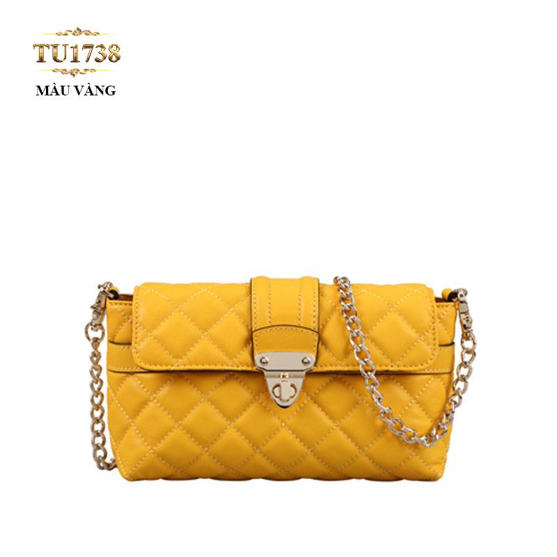 Túi da đeo 1 dây xích họa tiết quả trám màu vàng cao cấp TU1738