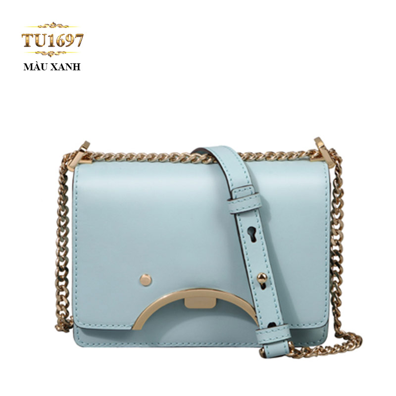 Túi da đeo 1 dây xích nắp viền kim loại cao cấp TU1697 (Màu xanh)