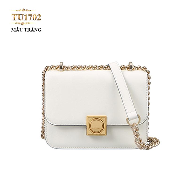 Túi đeo Dissona dây xích màu trắng khóa kim loại cao cấp TU1702