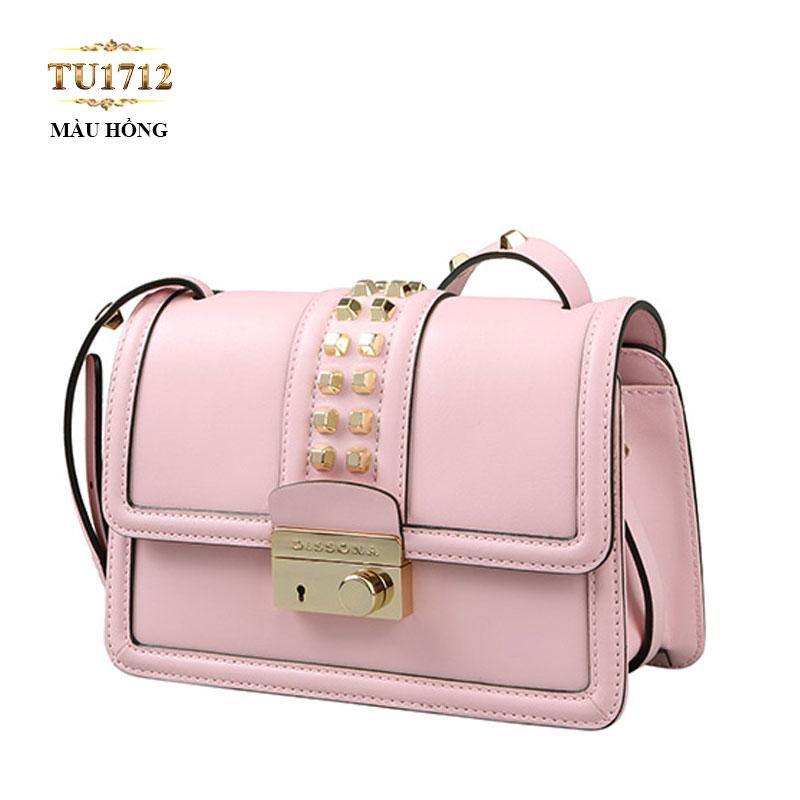 Túi đeo Dissona mini màu hồng nắp đính kim loại cao cấp TU1712