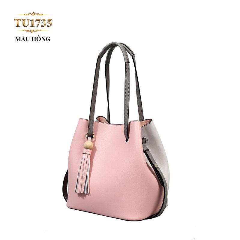Túi xách bucket da màu hồng thời trang TU1735