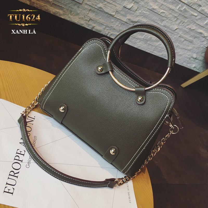 Túi xách đeo cao cấp kèm quả bông xinh xắn TU1624 (Xanh lá)