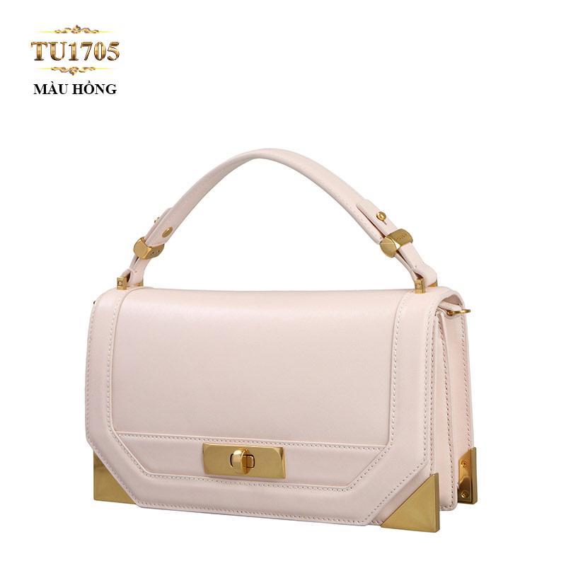 Túi xách đeo Dissona form chữ nhật  góc kim loại cao cấp TU1705 (Màu hồng)