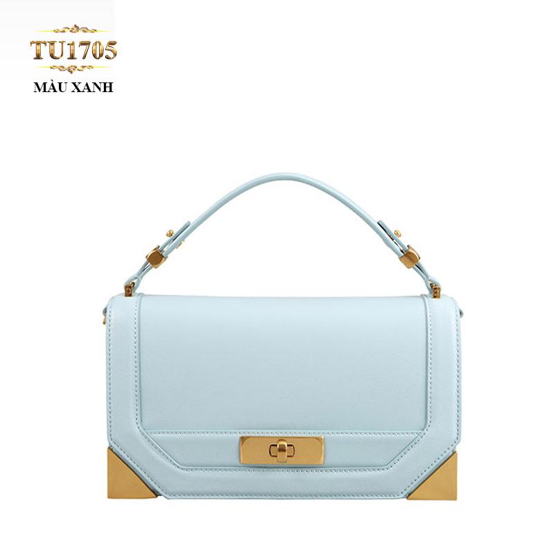 Túi xách đeo Dissona form chữ nhật  góc kim loại cao cấp TU1705 (Màu xanh)