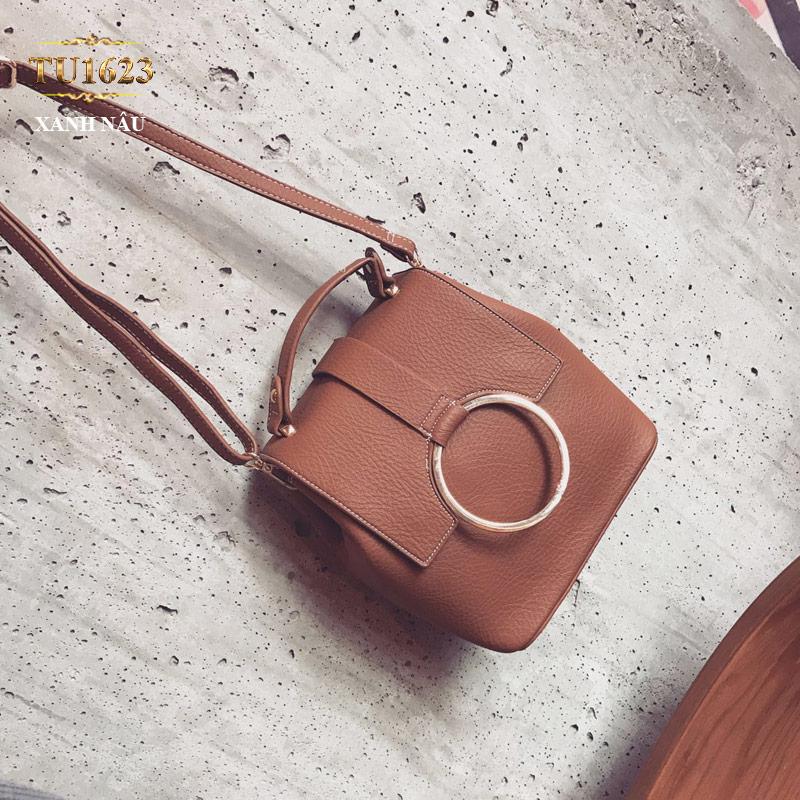 Túi xách đeo thời trang móc kim loại tròn TU1623 (Màu nâu)