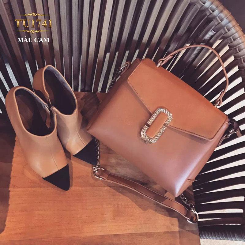 Túi xách đeo phối dây xích màu cam thời trang TU1741