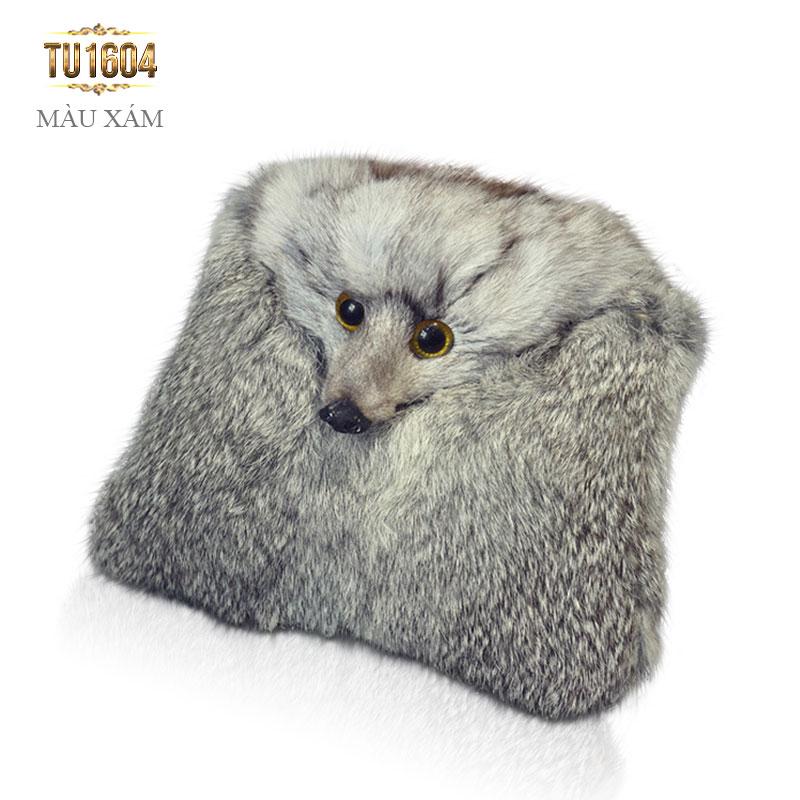 Túi xách lông thú dây xích thời trang TU1604 (Màu xám)