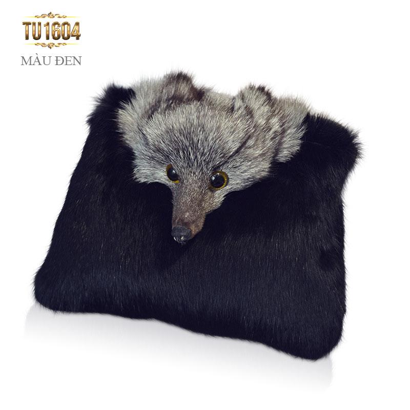 Túi xách lông thú dây xích thời trang TU1604 (Màu đen)