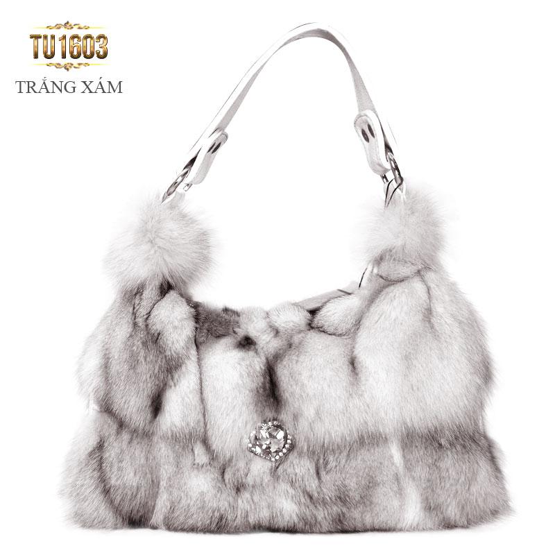 Túi xách lông thú đính đá nhập khẩu cao cấp TU1603 (Trắng xám)