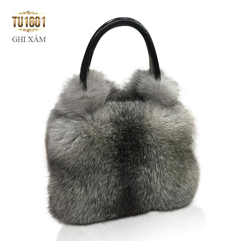 Túi xách lông thú nk cao cấp TU1601 (Ghi xám)