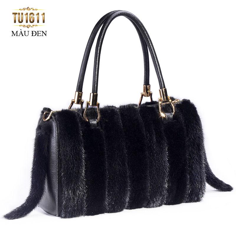 Túi xách lông phối màu nhập khẩu cao cấp TU1611( Màu đen)