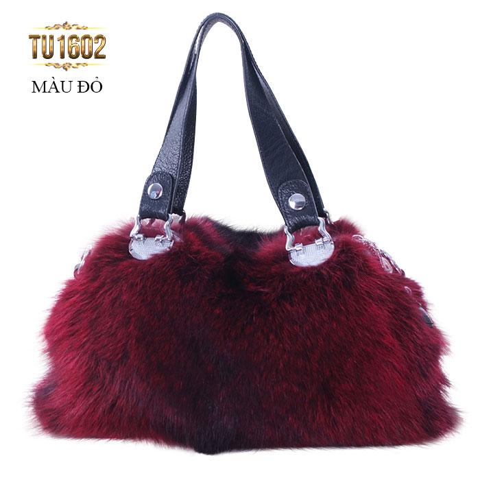 Túi xách lông thú quai da nhập khẩu cao cấp TU1602 (Màu đỏ)